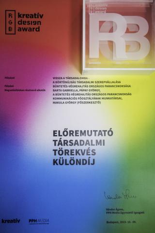 """Az RGB – Kreatív Design Award """"Előremutató társadalmi törekvés"""" különdíja"""